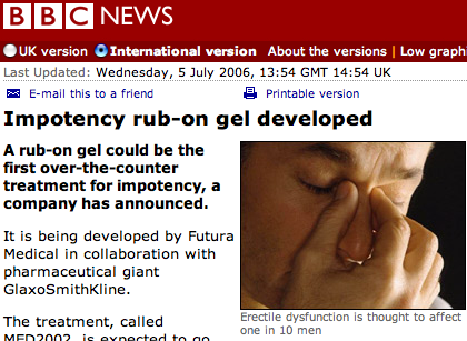BBC impotency story, picture of guy rubbing his nose